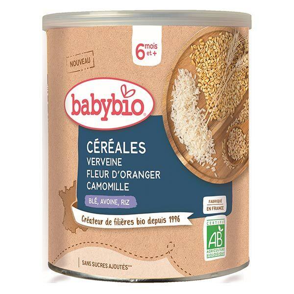 Babybio Céréales Pot Verveine Fleur d'Oranger Camomille Blé Avoine Riz +6m Bio 220g