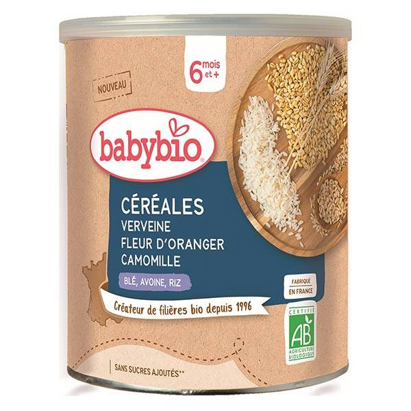 Babybio Mes Céréales Pot Verveine Fleur d'Oranger Camomille Blé Avoine Riz +6m Bio 220g