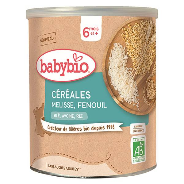 Babybio Céréales Mélisse Fenouil avec Blé Avoine, Riz +6m Bio 220g