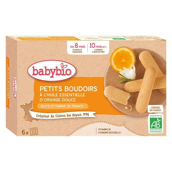 Babybio Mes Petits Biscuits Boudoirs à l'Huile Essentielle d'Orange Douce +8m Bio 120g