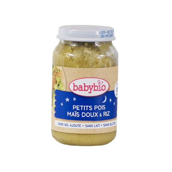 Babybio Bonne Nuit Pot Petits Pois Maïs Riz +6m Bio 200g