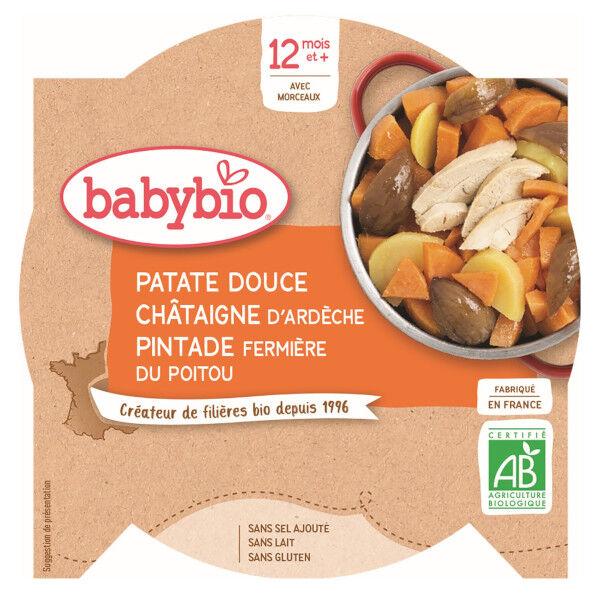 Babybio Repas Midi Assiette Patate Douce Châtaigne Pintade +12m Bio 230g