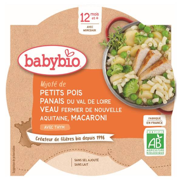 Babybio Menu du Jour Assiette Petits Pois Panais Veau Macaroni dès 12 mois 230g
