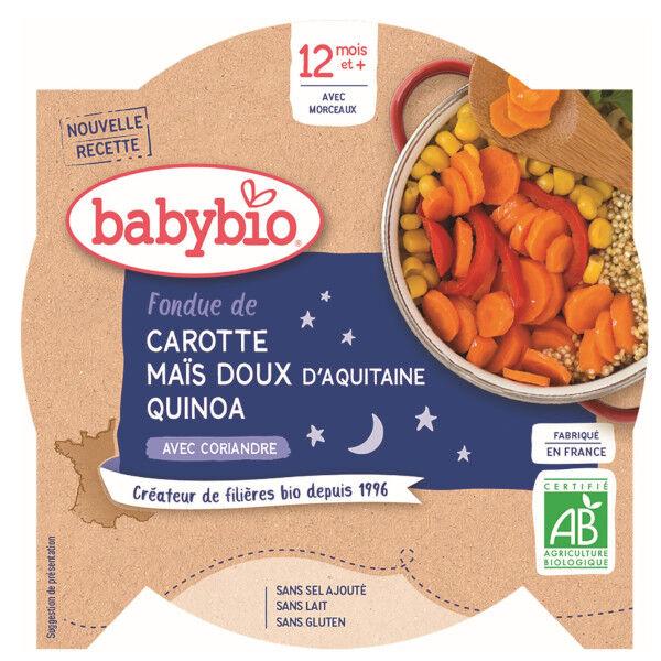 Babybio Bonne Nuit Assiette Fondue Carotte Maïs Quinoa +12m Bio 230g
