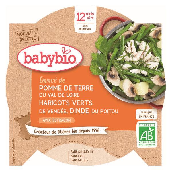 Babybio Repas Midi Assiette Pomme de Terre Haricots Verts Dinde +12m Bio 230g