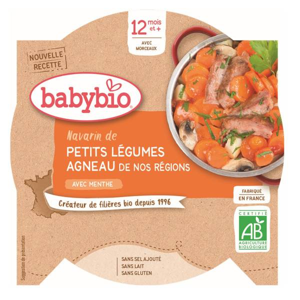 Babybio Menu du Jour Assiette Navarin de Petits Légumes Agneau +12m Bio 230g