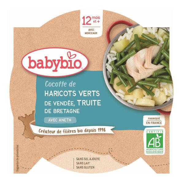 Babybio Repas Midi Assiette Cocotte de haricots Verts Truite +12m Bio 230g