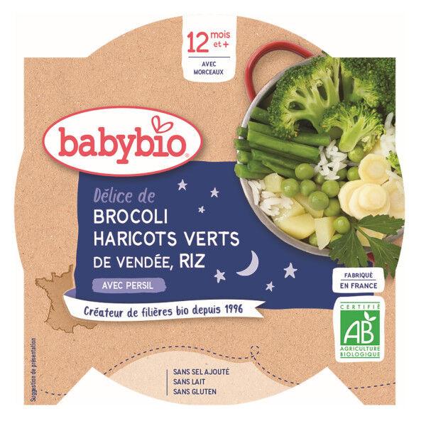 Babybio Bonne Nuit Assiette Brocoli Haricots Verts Riz +12m Bio 230g