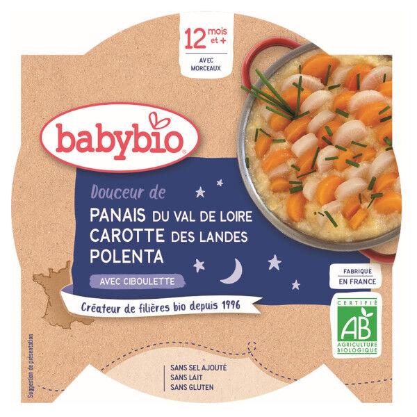 Babybio Repas Soir Assiette Douceur Panais Carotte Polenta +12m Bio 230g