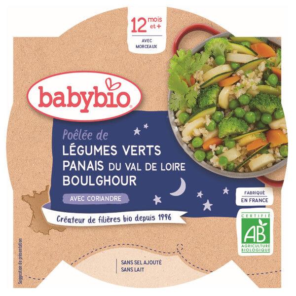 Babybio Bonne Nuit Assiette Légumes Verts Panais Boulghour +12m Bio 230g