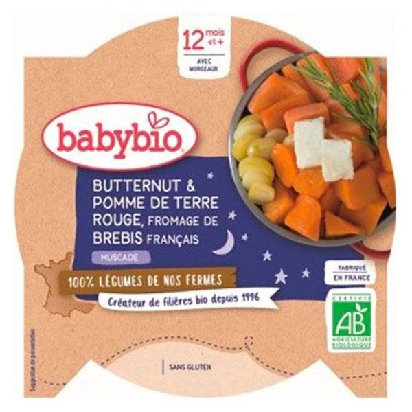 Babybio Repas Soir Assiette Butternut Pomme de Terre Rouge Fromage de Brebis +12m Bio 230g