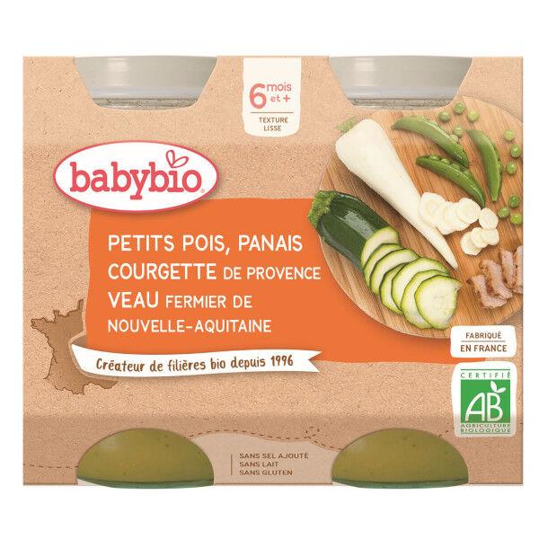 Babybio Repas Midi Pot Petits Pois Panais Courgette Veau +6m Bio 2 x 200g
