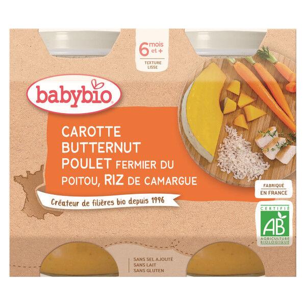 Babybio Repas Midi Pot Carotte Butternut Poulet Riz +6m Bio 2 x 200g