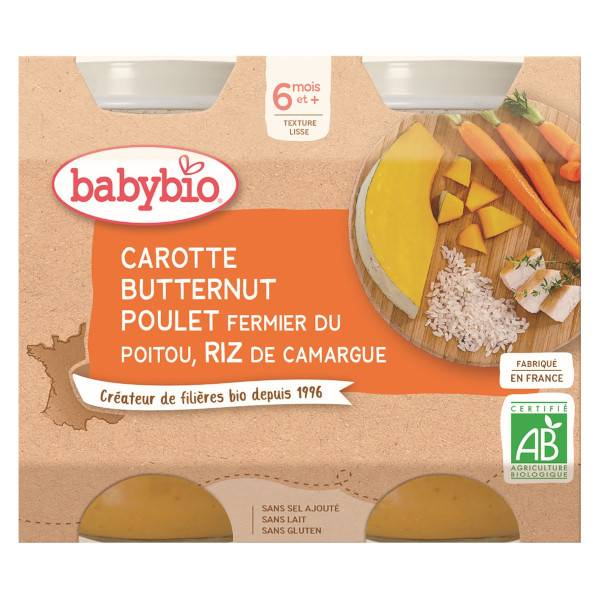 Babybio Menu du Jour Pot Carotte Butternut Poulet Riz +6m Bio 2 x 200g