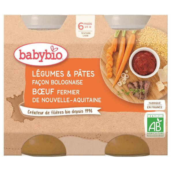 Babybio Repas Midi Pot Légumes Pâtes Bolognaise Bœuf +6m Bio 2 x 200g
