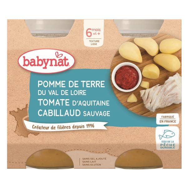 Babybio Repas Midi Pot Pomme de Terre Tomate Cabillaud +6m Bio 2 x 200g