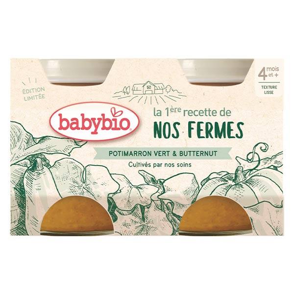 Babybio Légumes Pot Potimarron Vert Butternut +4m Bio 2 x 130g