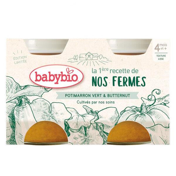 Babybio Recette de nos Fermes Potimarron Vert Butternut +4m Bio Lot de 2 x 130g