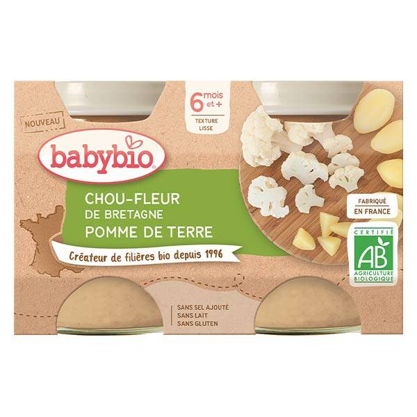 Babybio Mes Légumes Pot Chou Fleur Pomme de Terre +6m Bio 2 x 130g