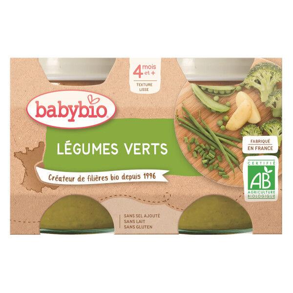 Babybio Mes Légumes Pot Légumes Verts +4m Bio 2 x 130g