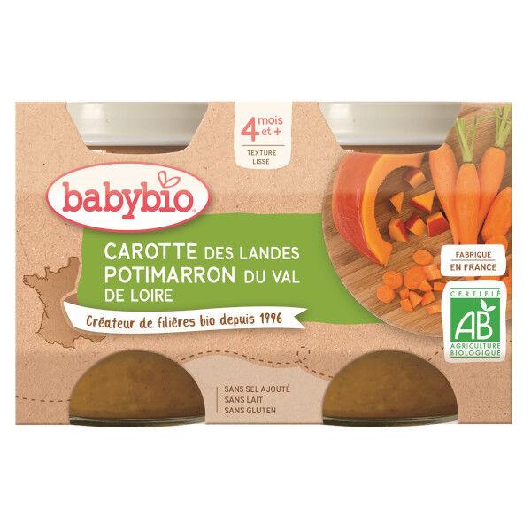 Babybio Légumes Pot Carotte Potimarron +4m Bio 2 x 130g