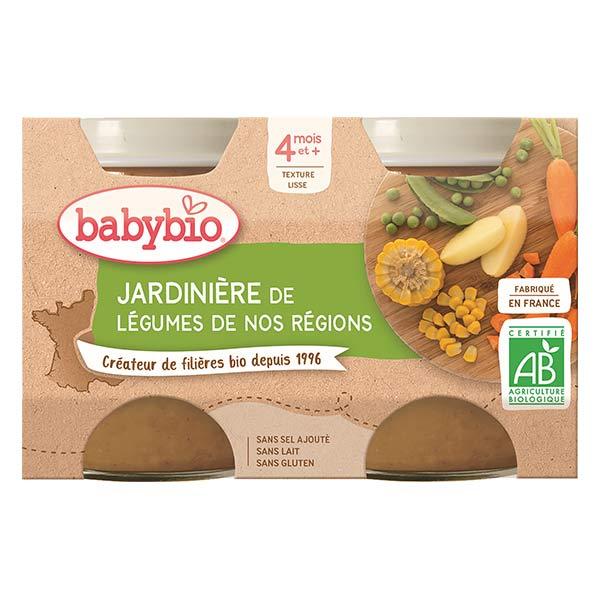 Babybio Mes Légumes Pot Jardinière de Légumes +4m Bio 2 x 130g