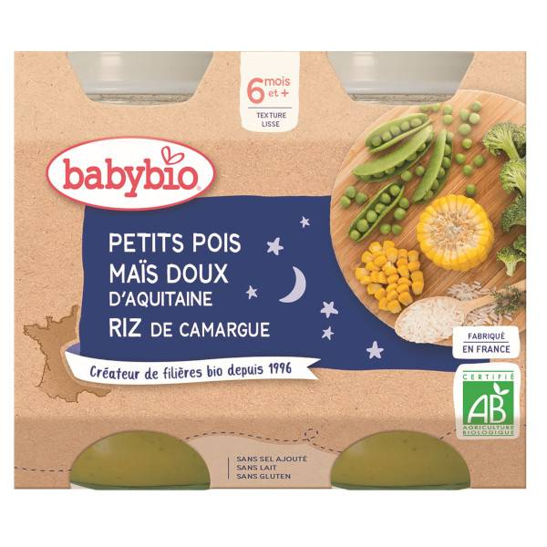 Babybio Bonne Nuit Pots Petits Pois Maïs Riz dès 6 mois 2 x 200g