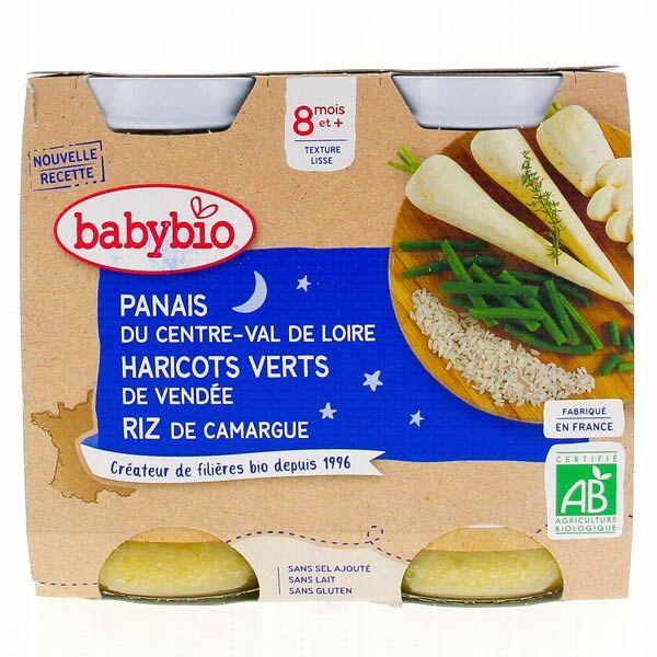 Babybio Bonne Nuit Pot Panais Haricots Verts Riz +8m Bio 2 x 200g
