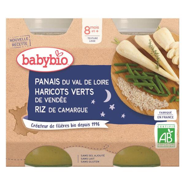 Babybio Bonne Nuit Pots Panais Haricots Verts Riz dès 8 mois 2 x 200g