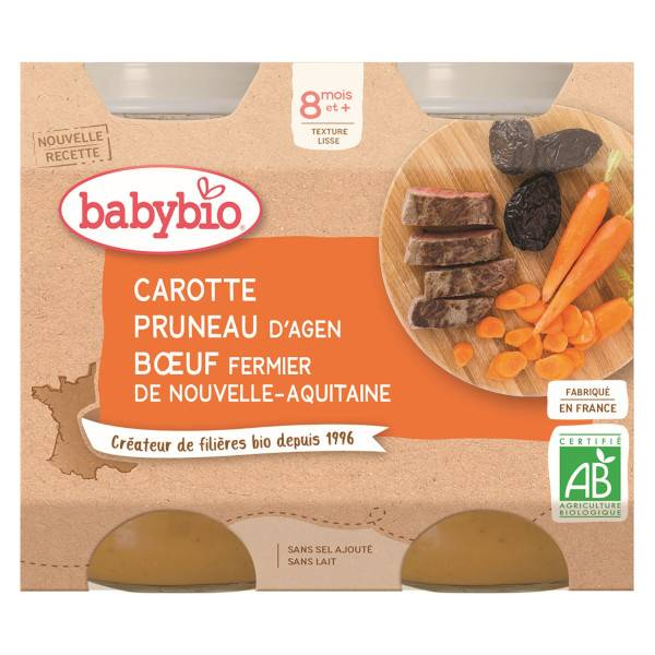 Babybio Repas Midi Pot Carotte Pruneau Boeuf +8m Bio 2 x 200g