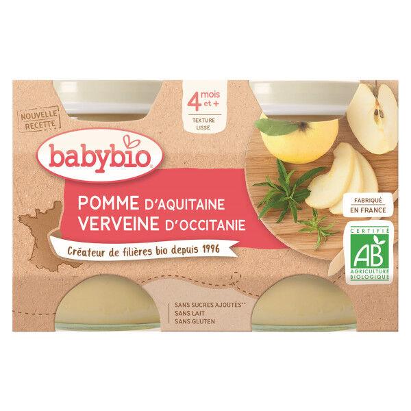 Babybio Fruits Pot Pomme Verveine +4m Bio 2 x 130g