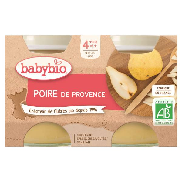 Babybio Mes Fruits Pots Poire Williams dès 4 mois 2 x 130g