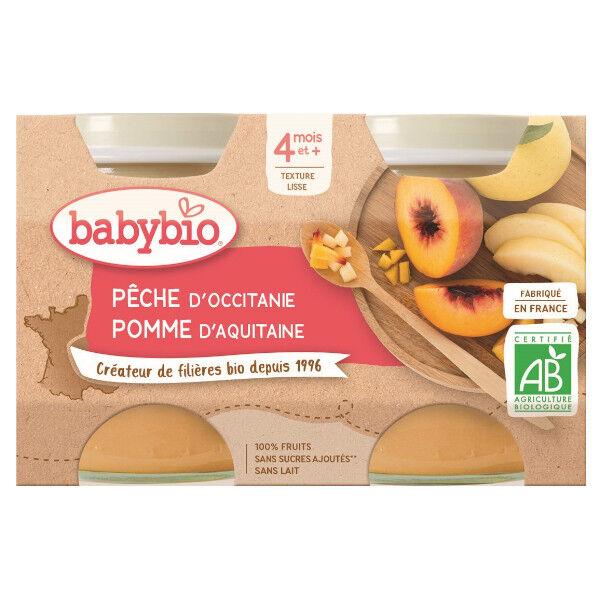 Babybio Fruits Pot Pêche Pomme +4m Bio 2 x 130g