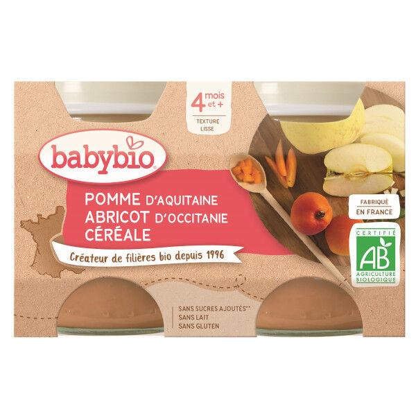 Babybio Fruits Pot Pomme Abricot Céréale +4m Bio 2 x 130g