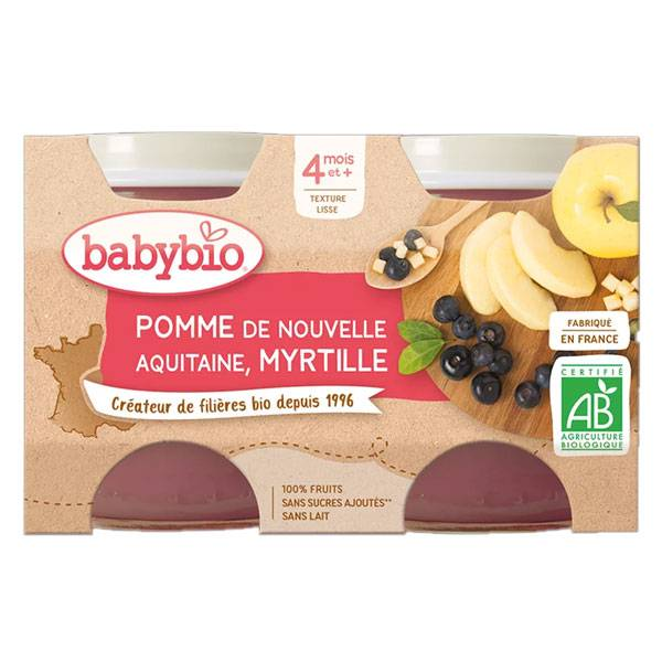 Babybio Mes Fruits Pot Pomme Myrtille +4m Bio 2 x 130g
