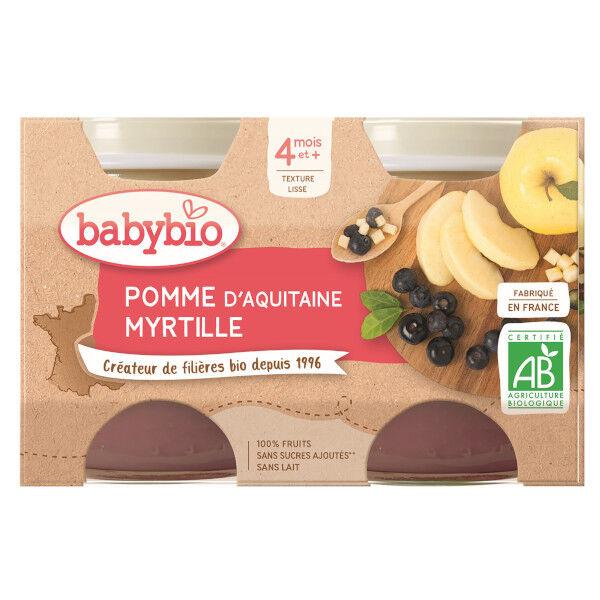 Babybio Mes Fruits Pomme Myrtille dès 4 mois 2 x 130g