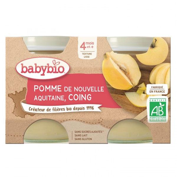 Babybio Fruits Pot Pomme Coing +4m Bio 2 x 130g