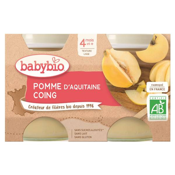 Babybio Mes Fruits Pomme Coing dès 4 mois 2 x 130g