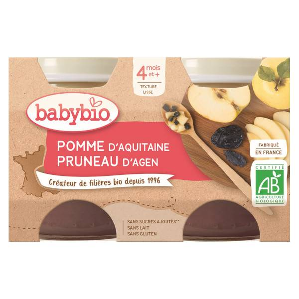 Babybio Mes Fruits Pot Pomme Pruneau +4m Bio 2 x 130g