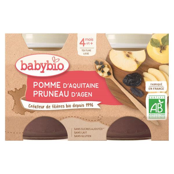 Babybio Fruits Pot Pomme Pruneau +4m Bio 2 x 130g