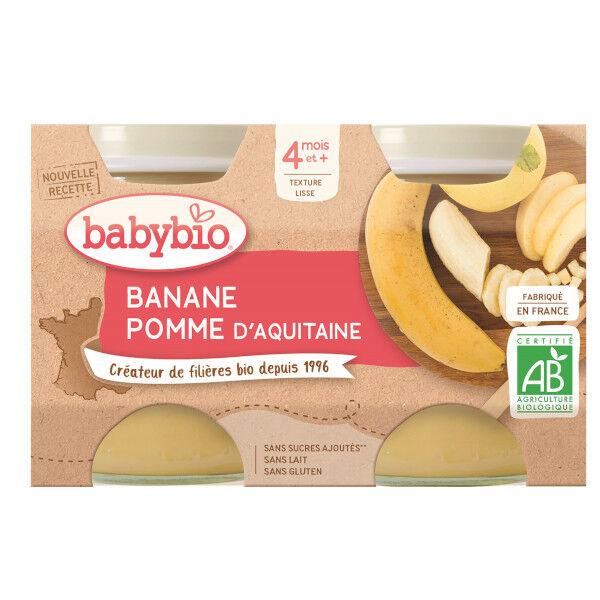 Babybio Fruits Pot Pomme Banane +4m Bio 2 x 130g