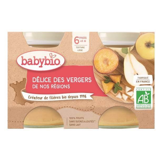 Babybio Mes Fruits Pot Délice des Vergers +6m Bio 2 x 130g