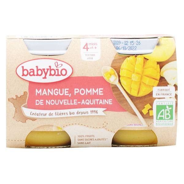 Babybio Mes Fruits Pot Pomme Mangue +4m Bio 2 x 130g