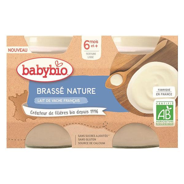 Babybio Desserts Lactés Pot Brassé au Lait de Vache Nature +6m Bio Lot de 2 x 130g