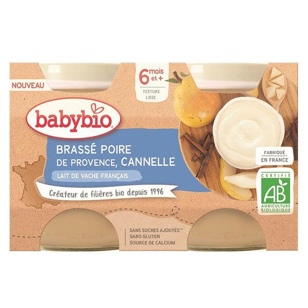 Babybio Desserts Lactés Pot Brassé au Lait de Vache Poire Cannelle +6m Bio Lot de 2 x 130g