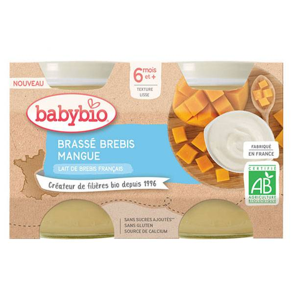 Babybio Douceur de Lait Pot au Lait de Brebis Mangue +6m Bio Lot de 2 x 130g