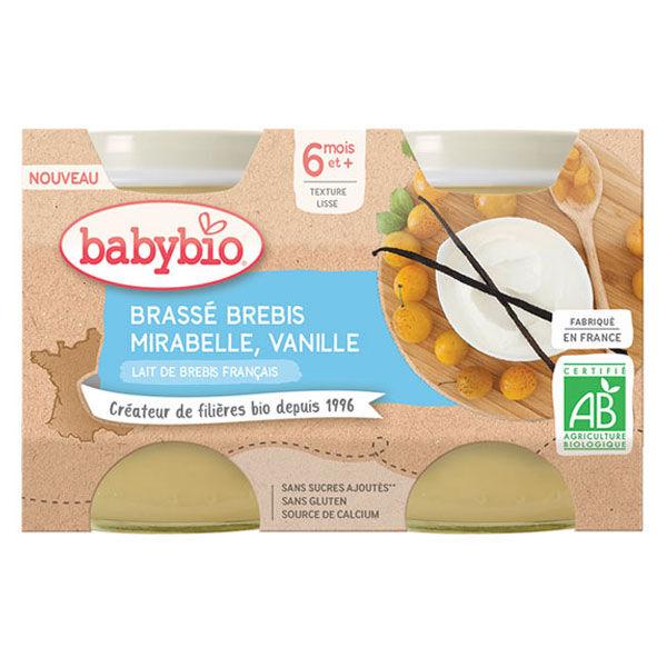 Babybio Desserts Lactés Pot Brassé au Lait de Brebis Mirabelle Vanille +6m Bio Lot de 2 x 130g
