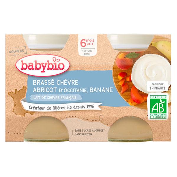 Babybio Desserts Lactés Pot Brassé au Lait de Chèvre Abricot Banane +6m Bio Lot de 2 x 130g