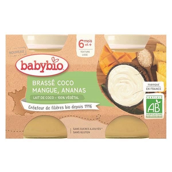 Babybio Desserts Végétaux Pot Brassé Lait de Coco Mangue Ananas +6m Bio Lot de 2 x 130g