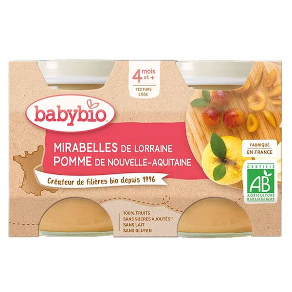 Babybio Fruits Pot Pomme Mirabelle +4m Bio 2 x 130g